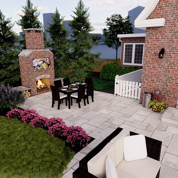 Rear Yard Patio and Fire Place with TV