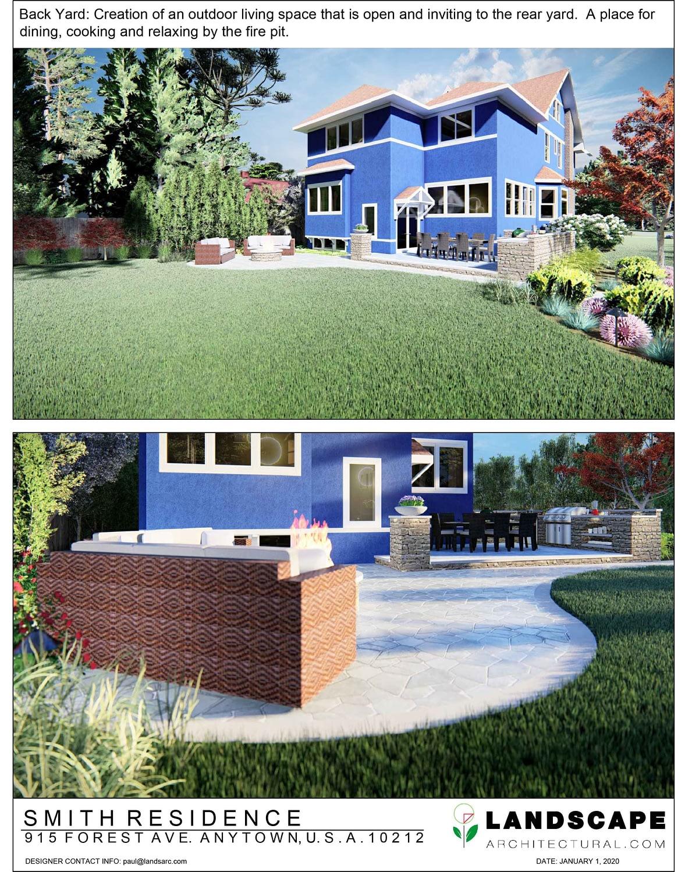 Rear Yard 3D Rendering Example