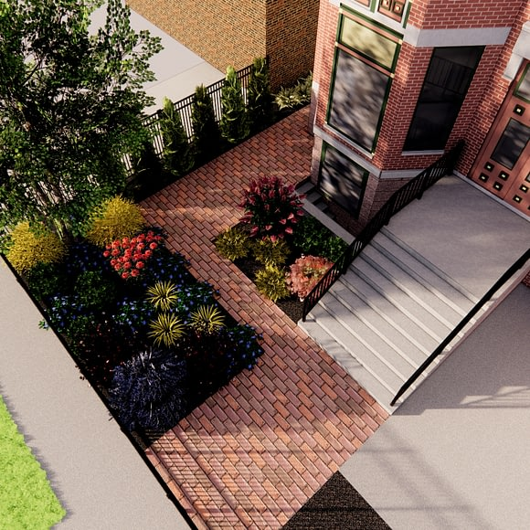 Front Yard City Clay Paver Walkway